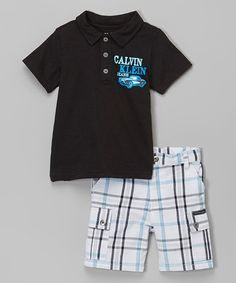 Look at this Black Car Logo Polo & Plaid Shorts - Infant, Toddler & Boys on #zulily today!