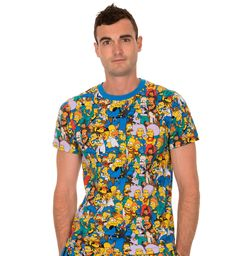 cbe9f76b2a725 The Simpsons Springfield Multi Character Collage Adult Blue T-shirt Tee -  The Simpsons -