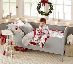 Santa's Sleigh Flannel Toddler Sheet Set | Pottery Barn Kids