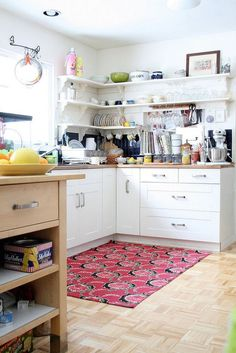 Eclectic kitchen makes clever use of the corner space