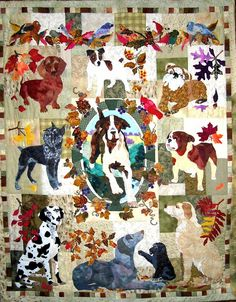Summers End Dogs BOM quilt by Maggie Walker Applique Patterns | eBay