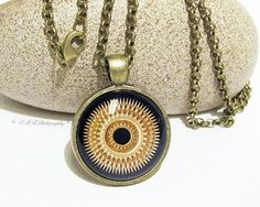 Steampunk Necklace, Steampunk Glass Pendant, Stacked Gold Gears,  Steampunk Jewelry by LMRPhotography for $20.00