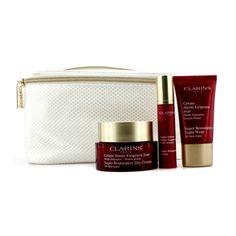 Clarins Super Restorative Collection: Day Cream 50ml + Night Wear 15ml + Serum 10ml + Bag  3pcs+1bag