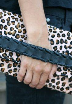 Pony Skin Leather Clutch - Leopard print pony skin purse