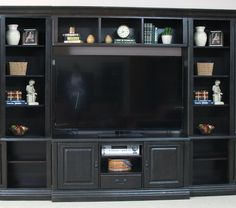 Distressed Black Entertainment Wall W/ Bookcase Piers   Sam Levitz Furniture