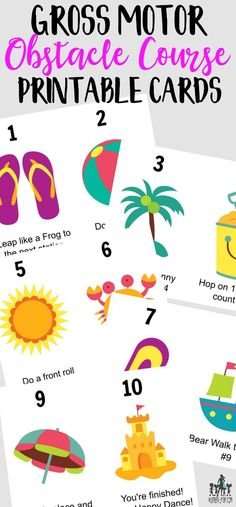 summer printable – gross motor obstacle course printable cards or relay race. Fun kids activity for summer summer printable – gross motor obstacle course printable cards or relay race. Fun kids activity for summer Gross Motor Activities, Gross Motor Skills, Sensory Activities, Learning Activities, Preschool Activities, Sensory Motor, Beach Activities, Teaching Ideas, Summer Activities For Kids