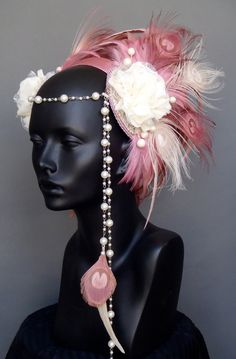 RESERVED Pink & Ivory Peacock Feather Headpiece