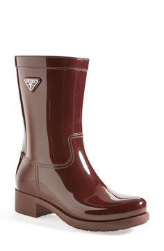 Yes, to Prada rain boots! Heeled Boots, Shoe Boots, Shoe Bag, Bootie Boots, Crazy Shoes, Me Too Shoes, Prada, Wellington Boot, Designer Shoes
