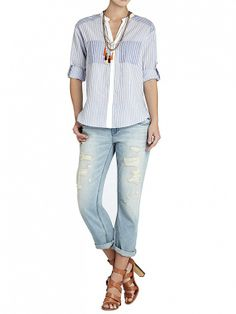 We love this casual-cool look // Randi Long Sleeve Pocket-Front Shirt by BCBGMAXAZRIA