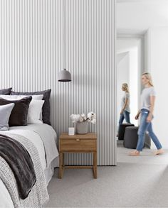 Grey painted Glosswood panelling makes for the perfect bedroom bedhead feature wall - Master Bedroom Interior, Home Bedroom, Bedroom Wall, Bedroom Decor, Bedroom Ideas, Bedroom Quotes, Bedroom Signs, Feature Wall Bedroom, Feature Walls