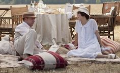 Picnic time: Giamatti's character is seen having a picnic with Michelle Dockery's Lady Mary Crawley