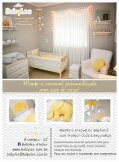 Kit berço personalizado com tecido chevron cinza e amarelo com tema elefante. www.babylee.com.br