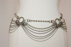 Steampunk Chain Belt 7 STrands Hooks Silvertone Metal by Retromomo
