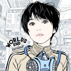 """江口寿史さんのツイート: """"lyrical school のニューアルバム『WORLD'S END』のジャケット描きました。リリスクは『date course』以来2回め。表4(裏ジャケ)はこれから描きまーす!(まだ描いてないんかーい!)… """""""