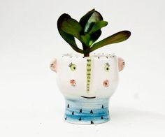Macetero de cerámica con cara por noemarin en Etsy