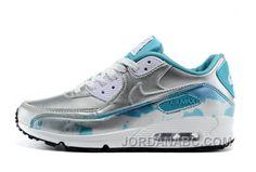 Women's Nike Wmns Air Max 90 PRM Light Blue Lacquer Sneakers : L84m2373