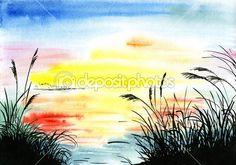 Baixar - Aquarela paisagem desenho — Imagem de Stock #50281381