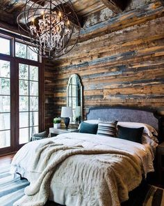 Who loves this cabin bedroom? I do!! #cabin #homedecor #home #country #countrygirl #wood #decor #camping #tinyhouse #lake #outdoors #bed #interiordesign #window #fishing #relax #relaxing #rustic #lighting #diy by roserusticshop