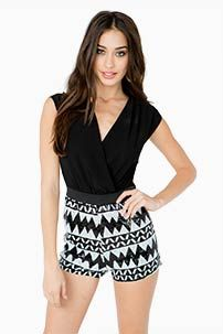 A'GACI Blk + Wht Sequined Tribal Romper - DRESSES