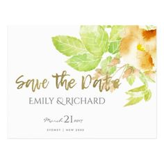 RUST ORANGE INK WATERCOLOUR FLOWER SAVE THE DATE POSTCARD - romantic wedding love couple marriage wedding preparations