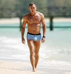 Daniel Craig's very classic trunks.  Looks like I better start working out more to pull this off