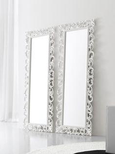 Espejo de pie tallado de madera de paulonia blanco Al. 120 cm ...