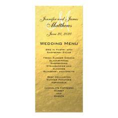 Gold Foil Wedding Menus Gold Monogram Wedding Menu Card