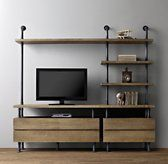 RH Baby & Child's Industrial Pipe Media Shelving:Sturdy steel pipes and matching cast fittings serve as the structure for our hardworking pieces, while warm wood planks provide support for books and a workspace for the industrious.