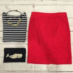 """• J. Crew •• Skirt • New with tags J. Crew No. 2 Pencil Skirt in ultra eyelet. Features a back zipper closure, and slit in the back. Red cotton eyelet over 97% cotton and 3% spandex full lining. Measures 15 1/4"""" across the waist, and 22"""" in length. Perfect for work or date night! J. Crew Skirts Pencil"""