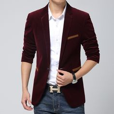 Blazer Masculino Vinho Slim Fit Casual Elegante Fino Veludo