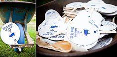 great idea for wedding program c/o Lucy Dylan Weddings Wedding Fans, Wedding Programs, Wedding Blog, Pig Roast Wedding, Hawaiian Luau, Preston, Wedding Details, Real Weddings, Blue And White