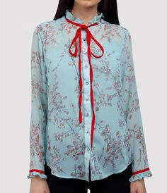 Light blue georgette printed shirt with red bow tie - buy online India from Ombré Lane