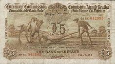 Royal Bank of Ireland Ltd, Five Pounds, 29 January Brennan-Mack signatures Irish Independence, Royal Bank, Ephemera, Scotland, Ireland, Hold On, Vintage World Maps, Banks, Banknote