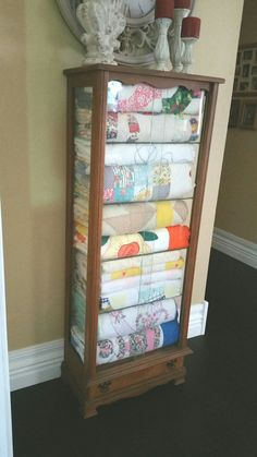 My quilt cabinet. And she made all the quilts inside. Love being able to enjoy their beauty. Old Quilts, Vintage Quilts, Quilt Display, Display Case, Quilt Ladder, Hanging Quilts, Quilting Room, Sewing Rooms, Repurposed Furniture