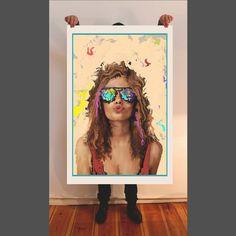 Sunglasses, fine art print, painting, giclee, portrait, Hahnemühle paper, mixed artwork, acrylic, watercolor, oil painting, figurative art