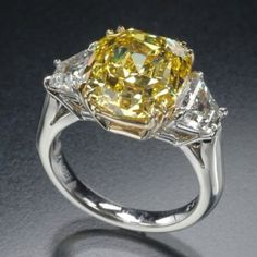 Price: $1.35 million Although this ring is last on the list, this is surely one of the most attractive pieces of ring one can have. The yellow color of the ring is what makes it different from other regular rigs. This Novo Yellow diamond ring was sold by Tiffany's for $1.35 million. The diamond weighs 25.27 karats and is set in a yellow gold platinum ring.