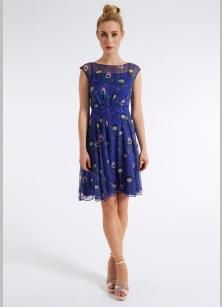 Peacock Printed Chiffon Dress