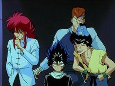 This kinda describes these characters. Yusuke laughing hysterically at Hiei who's super annoyed, Kurama trying to hide his laugh and Kuwabara is just flat-out confused. Anime Demon, Manga Anime, Yu Yu Hakusho Anime, Japanese Animated Movies, Yoshihiro Togashi, Anime Nerd, Anime Shows, Jojo's Bizarre Adventure, Kawaii Anime