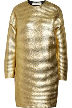 Moss metallic coated wool dress by Stella McCartney
