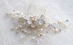 Crystal /Pearl/ Rhinestone hair comb. Bridal by ShesAccessories, $69.95