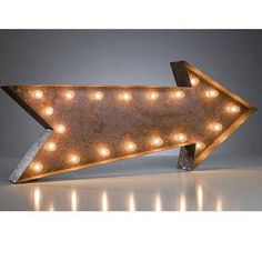 Large Arrow Vintage Marquee Sign with Lights (Rustic) - Buy Marquee Lights Online - The Rusty Marquee Marquee Sign, Marquee Lights, Arrow Signage, Restaurant Signage, Teen Bedroom Designs, Girls Bedroom, Bar Signs, Rustic Feel, Vintage Movies