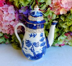 Beautiful Antique Booths Real Old Willow Coffee Pot ~ Flow Blue ~ Gold #Booths