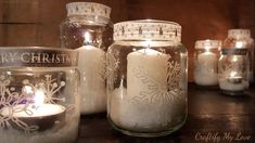 Learn how to bring stunningly wonderful snowflakes into your warm and cozy home, by DIYing Snowflake Candle Holders from empty jars. Diy Christmas Lights, Christmas Crafts, Happy Christmas Day, Happy Holidays, Holiday Tree, Holiday Decor, Recycled Jars, Snow Flakes Diy, Ornament Hooks
