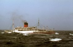 A rough day in the Bay of Biscay as Rhodesia Castle heads south for the sun Merchant Navy, Merchant Marine, Bay Of Biscay, Us Sailing, Stormy Sea, Mombasa, Nature Photos, Shipping Company, Cruise