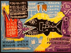 Jean-Michel Basquiat Radium (Fish), acrylic on cardboard, signed with crown over Basquiat, p. on Dec 2017 Gouache, Jean Michel Basquiat, Whitney Museum, Art Impressions, Art Auction, American Artists, Pop Art, Graffiti, Street Art