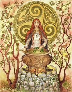 Cerridwen is the shapeshifting Celtic goddess of knowledge, transformation and rebirth. The Awen, cauldron of poetic inspiration, is her main symbol. In part of Welsh legend, she brews a potion to give to her son Morfran. She puts Gwion in charge of guarding the cauldron. Three drops of the brew fall upon his finger, blessing him with the knowledge held within. Cerridwen pursues him until, as a hen, she swallows him. Nine months later, she gives birth to Taliesen, the greatest of Welsh…