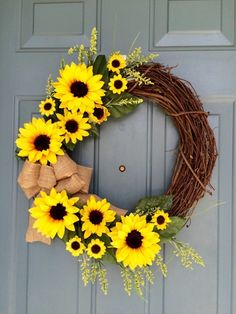 Sunflower Front Door Wreath - Sunflower Wreath - Spring Sunflower Wreath - Sunflower Decoration - Sunflower Door Hanger by WallflowersbyKerri on Etsy (summer door wreaths mom) Summer Door Decorations, Summer Door Wreaths, Wreaths For Front Door, Holiday Wreaths, Spring Wreaths, Sunflower Door Hanger, Sunflower Wreaths, Sunflower Decorations, Sunflower Tree