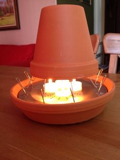 This is my version of a clay pot heater .I saw other versions and they didn't seem very secure .I used a camping toaster , tied wire to two of the a joining toaster levers ,put a small clay pot on top of it then a piece of tin foil then I add another clay pot. I made sure it all fit in a clay pot bottom because I didn't want any heat to singe my table or tent ....... Btw it works amazing I was pleasantly shocked !