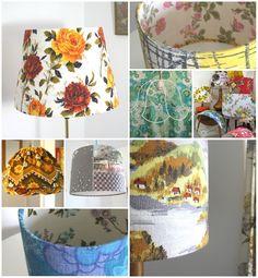 Barkcloth lampshades at follyandglee.co.uk