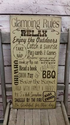 Camping Sign, camping Decor, Camping Rules, Glamping, camping, cabin, cottage, lake, river Rules Typography Word Art Sign